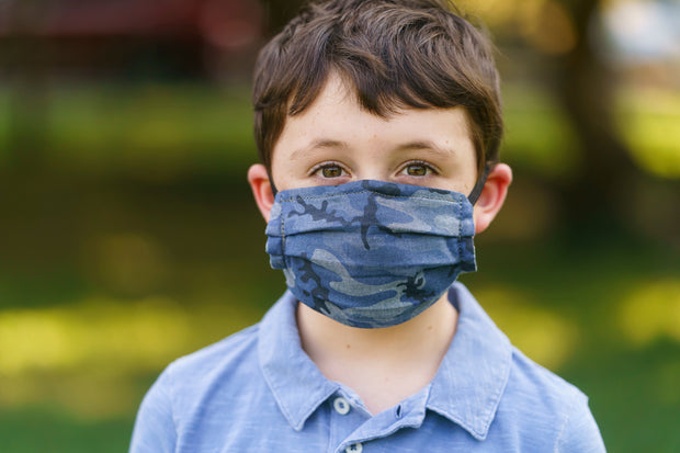 Reusable Chambray Camo Face Mask- Elastic Loops -Kid Sizes Available