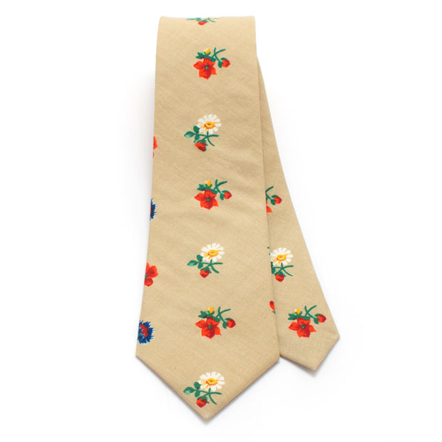 1940s Field Flowers Necktie