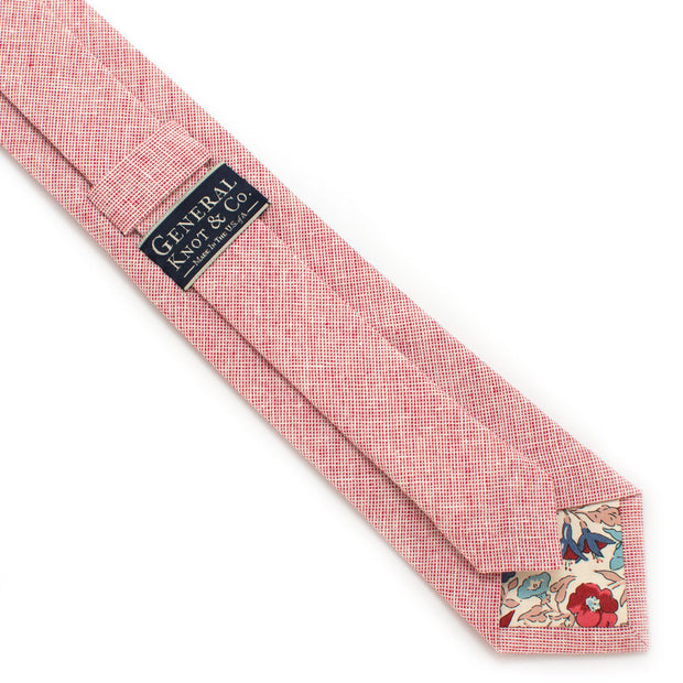 Scarlet Homespun Chambray Necktie