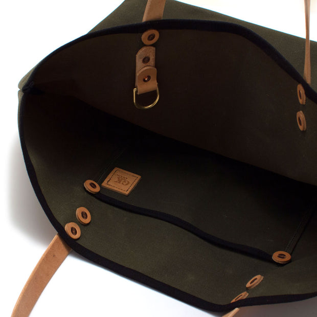 Army Green Waxed Canvas All Day Tote