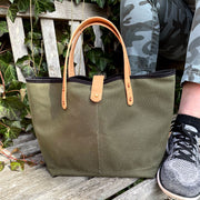 Army Green Waxed Canvas All Day Mini Tote