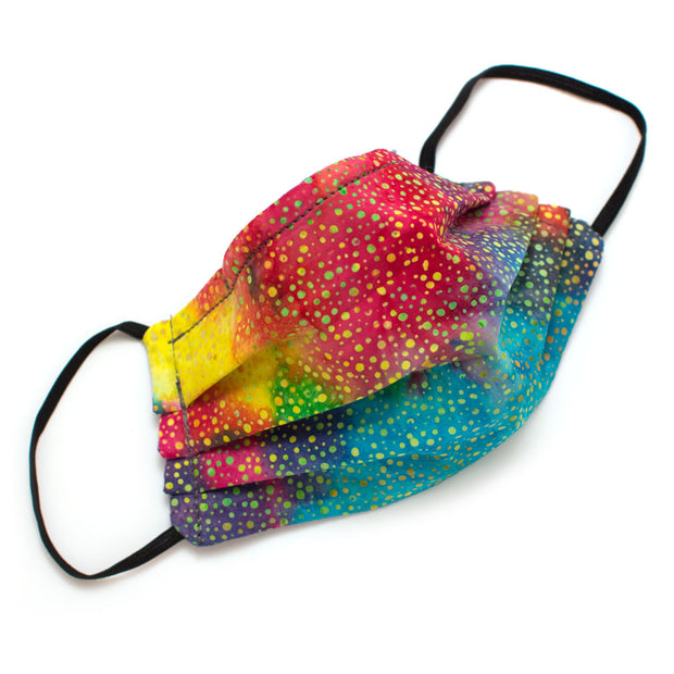 Reusable Rainbow Confetti Face Mask- Elastic Loops- Kids Sizes Available