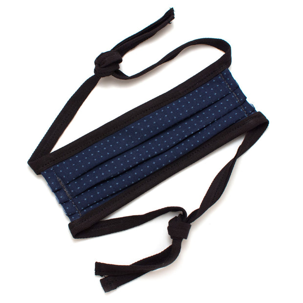 Reusable Navy Geo Face Mask with Ties