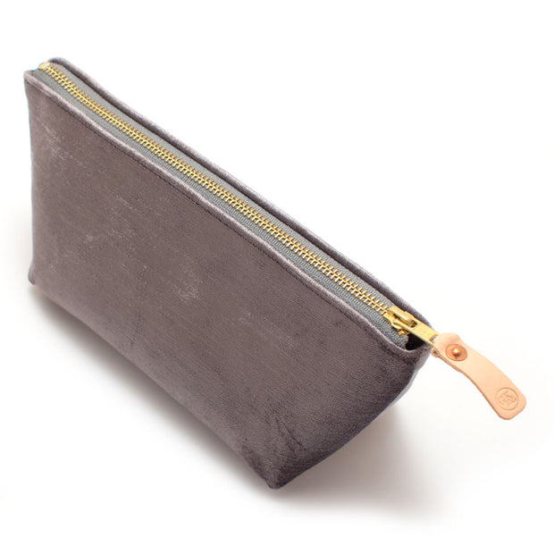Silver Velvet Travel Clutch