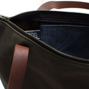 Army Green Waxed Canvas Portfolio Tote - General Knot & Co. ,  Bags - Neckwear and travel bags