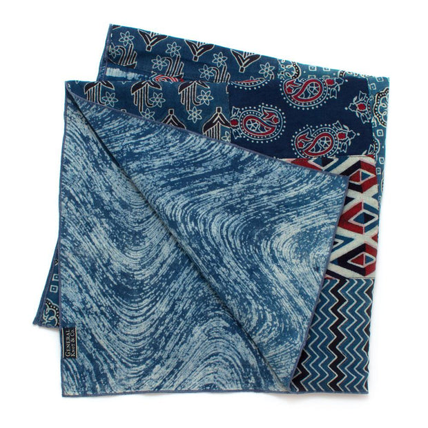 Bengal Patchwork Double Sided Bandana- Blue - General Knot & Co. ,  Squares - Neckwear and travel bags