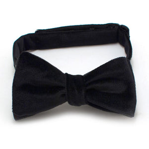 "Black Velvet & Satin Reversible Classic Bow - General Knot & Co. ,  Self-Tied Classic Bow Tie 2.5"" at Widest - Neckwear and travel bags"