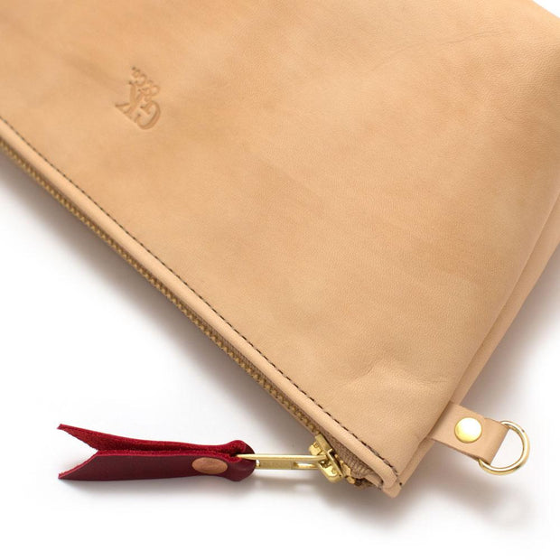 Blond Leather Zipper Clutch - General Knot & Co. ,  Bags - Neckwear and travel bags