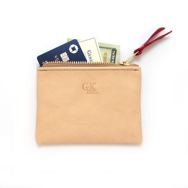 Blond Leather Zipper Wallet - General Knot & Co. ,  Wallet - Neckwear and travel bags