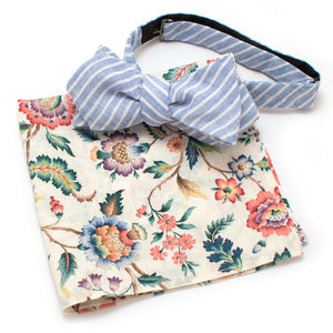 "Brook Linen Bow - General Knot & Co. ,  Self-Tied Diamond Point Bow 2.5"" at widest - Neckwear and travel bags"