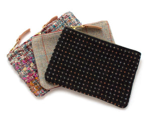 Charcoal Dot Wool Zipper Pouch Bags General Knot & Co.