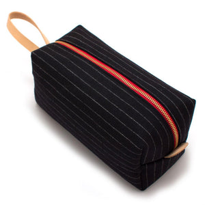 Charcoal Stripe Wool Travel Kit Bags General Knot & Co.
