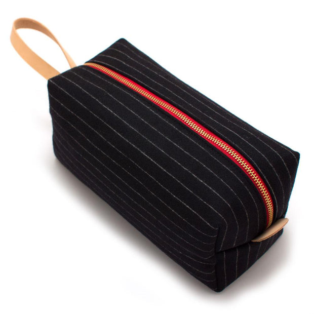 Charcoal Stripe Wool Travel Kit - General Knot & Co. ,  Bags - Neckwear and travel bags
