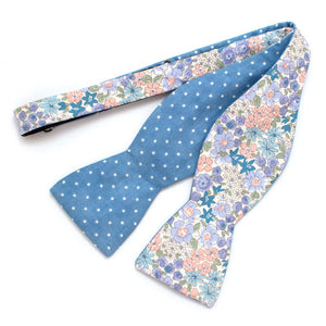 "Charleston Gardens & Sky Dot Reversible Bow - General Knot & Co. ,  Self-Tied Classic Bow Tie 2.5"" at Widest - Neckwear and travel bags"
