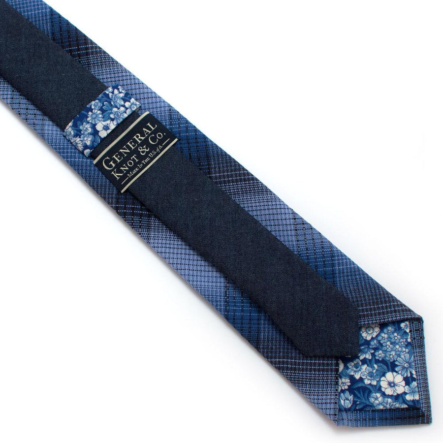 "Cornflower Shadow Plaid Necktie - General Knot & Co. ,  Classic Necktie 2 7/8"" x 58"" - Neckwear and travel bags"