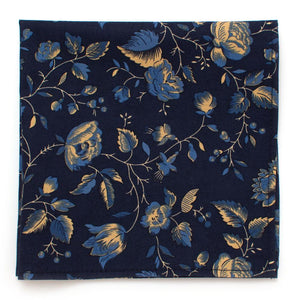 "Dutch Floral Square- Deep Navy - General Knot & Co. ,  Squares 13""x13"" - Neckwear and travel bags"