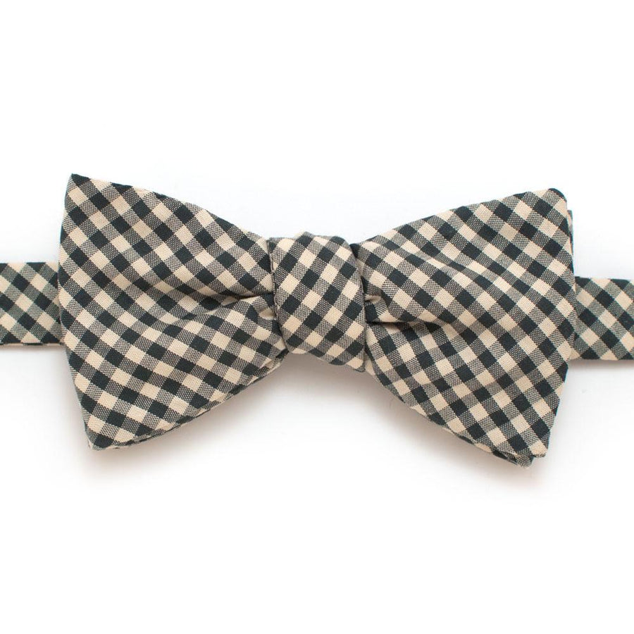 "Endicott Gingham Bow- Forest - General Knot & Co. ,  Self-Tied Classic Bow Tie 2.5"" at Widest - Neckwear and travel bags"