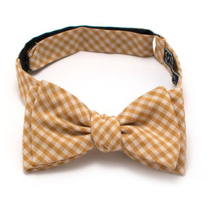 "Endicott Gingham Bow- Gold - General Knot & Co. ,  Self-Tied Classic Bow Tie 2.5"" at Widest - Neckwear and travel bags"