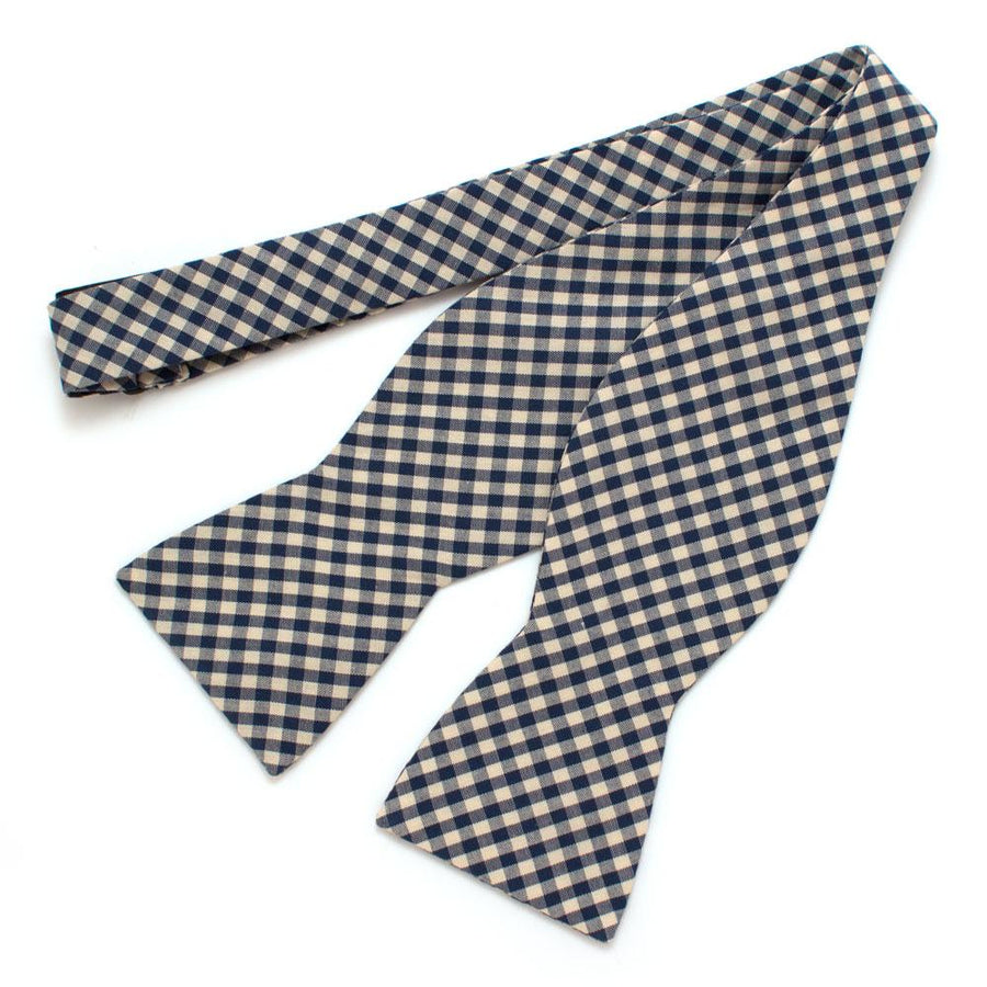 "Endicott Gingham Bow- Ink - General Knot & Co. ,  Self-Tied Classic Bow Tie 2.5"" at Widest - Neckwear and travel bags"