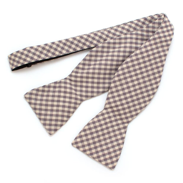 "Endicott Gingham Bow- Smoke Grey - General Knot & Co. ,  Self-Tied Classic Bow Tie 2.5"" at Widest - Neckwear and travel bags"