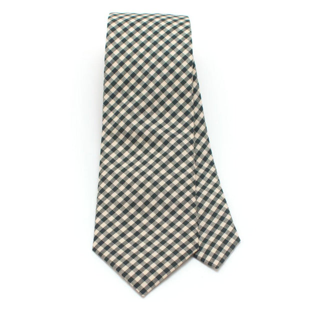 "Endicott Gingham Necktie- Forest - General Knot & Co. ,  Classic Necktie 2 7/8"" x 58"" - Neckwear and travel bags"