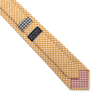 "Endicott Gingham Necktie- Gold - General Knot & Co. ,  Classic Necktie 2 7/8"" x 58"" - Neckwear and travel bags"