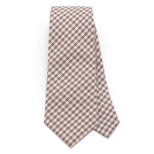 "Endicott Gingham Necktie- Smoke Grey - General Knot & Co. ,  Classic Necktie 2 7/8"" x 58"" - Neckwear and travel bags"