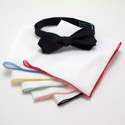 Formal White Pocket Square with Contrast Edging - General Knot & Co. ,  Squares - Neckwear and travel bags