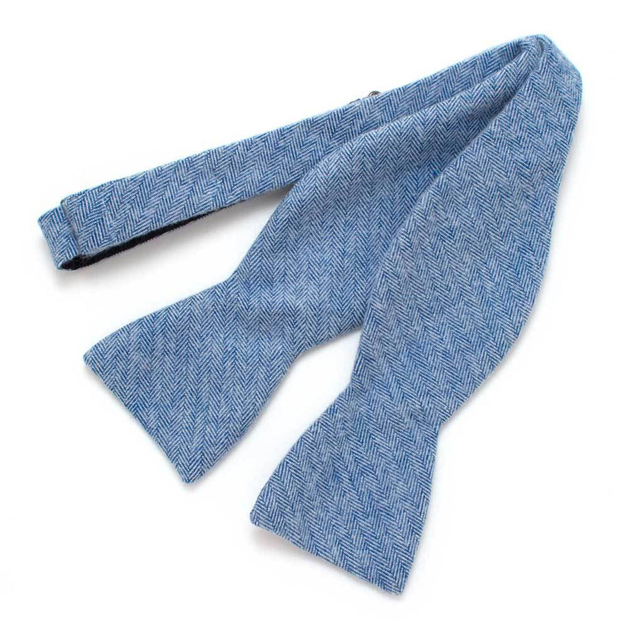 "French Blue Flannel Herringbone Bow - General Knot & Co. ,  Self-Tied Classic Bow Tie 2.5"" at Widest - Neckwear and travel bags"