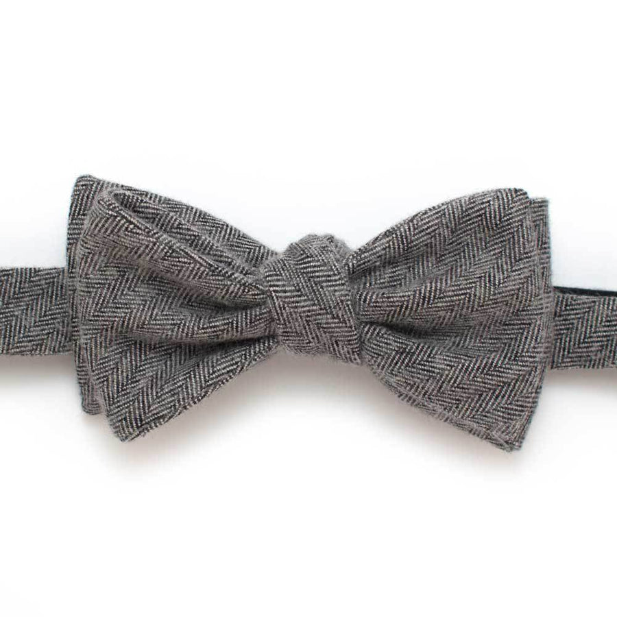 "Grey Flannel Herringbone Bow - General Knot & Co. ,  Self-Tied Classic Bow Tie 2.5"" at Widest - Neckwear and travel bags"