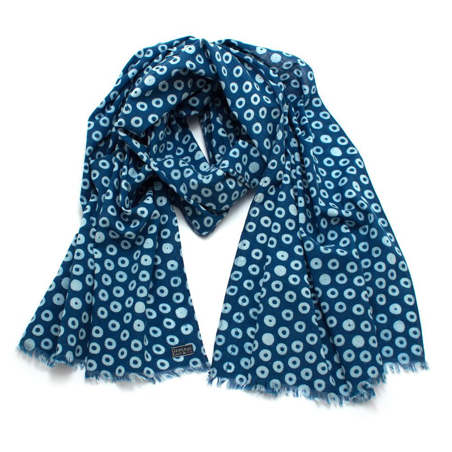 Indigo Circles Block Print Scarf - General Knot & Co. ,  Scarves - Neckwear and travel bags
