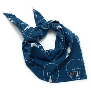 Indigo Light Bulbs Block Print Bandana - General Knot & Co. ,  Scarves - Neckwear and travel bags
