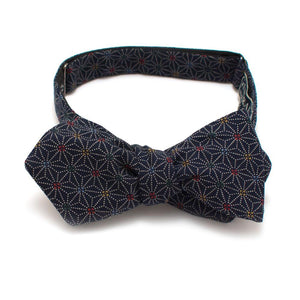 "Indigo Stain Glass Bow - General Knot & Co. ,  Self-Tied Diamond Point Bow 2.5"" at widest - Neckwear and travel bags"