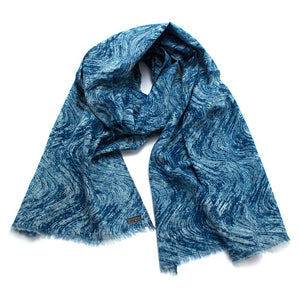 Indigo Waves Block Print Scarf - General Knot & Co. ,  Scarves - Neckwear and travel bags