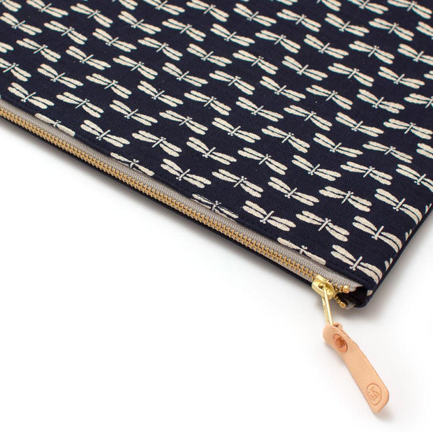 Japanese Indigo Dragonfly Laptop Sleeve/Carryall-Large - General Knot & Co. ,  Bags - Neckwear and travel bags
