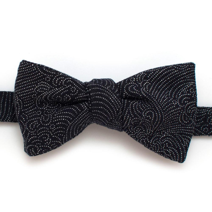 "Japanese Indigo Tidal Wave Bow - General Knot & Co. ,  Self-Tied Classic Bow Tie 2.5"" at Widest - Neckwear and travel bags"