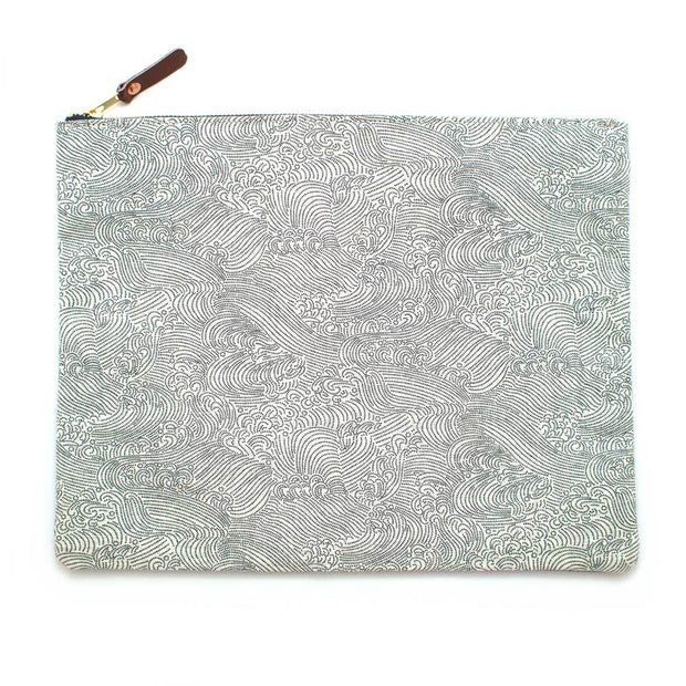 Japanese Ivory Tidal Wave Laptop Sleeve- Carryall Large - General Knot & Co. ,  Bags - Neckwear and travel bags