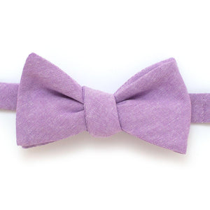 "Lavender Chambray Bow - General Knot & Co. ,  Self-Tied Classic Bow Tie 2.5"" at Widest - Neckwear and travel bags"