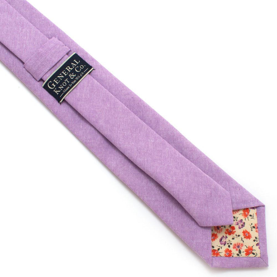 "Lavender Chambray Necktie - General Knot & Co. ,  Classic Necktie 2 7/8"" x 58"" - Neckwear and travel bags"