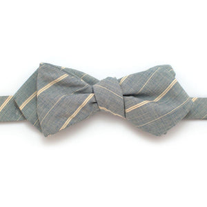"Mill Stripe Diamond Point Bow - General Knot & Co. ,  Self-Tied Diamond Point Bow 2.5"" at widest - Neckwear and travel bags"