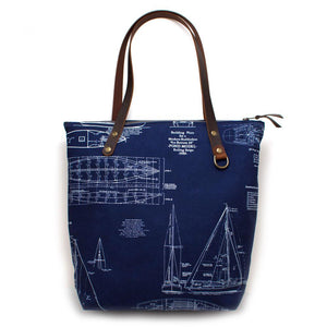 Nautical Blueprint Portfolio Tote - General Knot & Co. ,  Bags - Neckwear and travel bags