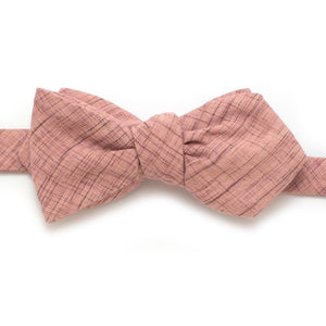 "Old Rose Crosshatch Bow - General Knot & Co. ,  Self-Tied Diamond Point Bow 2.5"" at widest - Neckwear and travel bags"