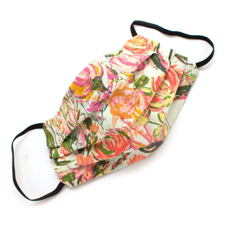 Reusable 1950s Charleston Floral Face Mask- Elastic Loops- Kid Sizes Available Masks General Knot & Co.