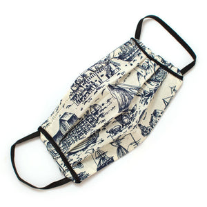 Reusable Nautical Toile Face Mask- Elastic Loops Masks General Knot & Co.