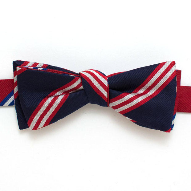 "Rowing Stripe Silk Reversible Classic Bow - General Knot & Co. ,  Self-Tied Classic Bow Tie 2"" at Widest - Neckwear and travel bags"
