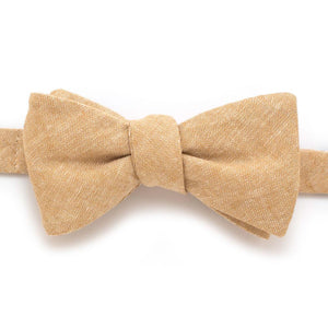 "Rustic Camel Chambray Classic Bow - General Knot & Co. ,  Self-Tied Classic Bow Tie 2.5"" at Widest - Neckwear and travel bags"