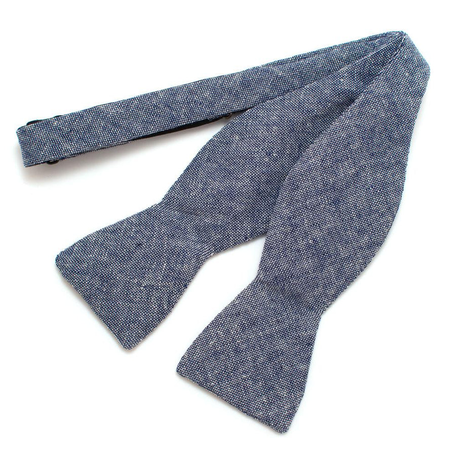 "Rustic Navy Chambray Bow- - General Knot & Co. ,  Self-Tied Classic Bow Tie 2.5"" at Widest - Neckwear and travel bags"