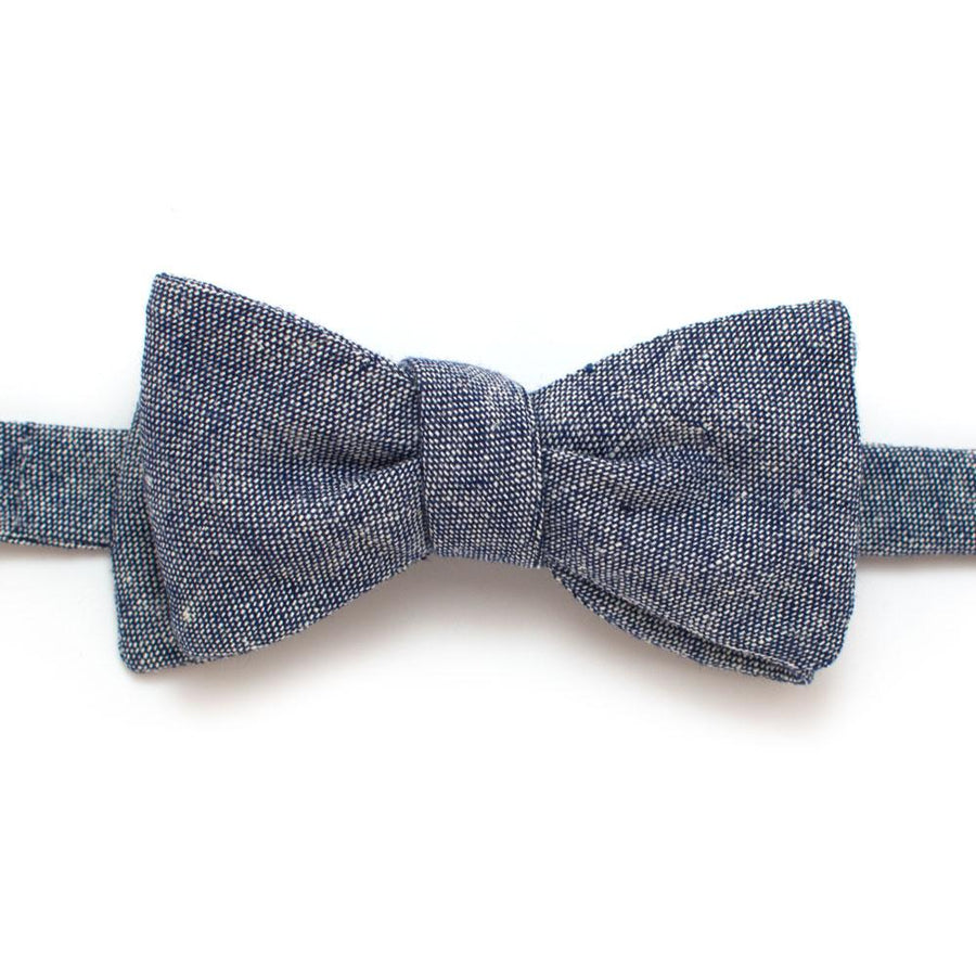 "Rustic Navy Chambray Bow - General Knot & Co. ,  Self-Tied Classic Bow Tie 2.5"" at Widest - Neckwear and travel bags"