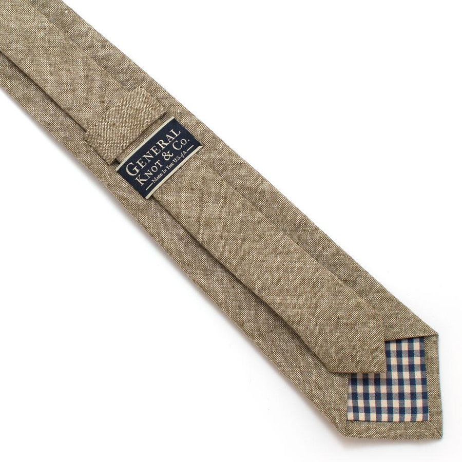 "Rustic Olive Chambray Necktie - General Knot & Co. ,  Classic Necktie 2 7/8"" x 58"" - Neckwear and travel bags"