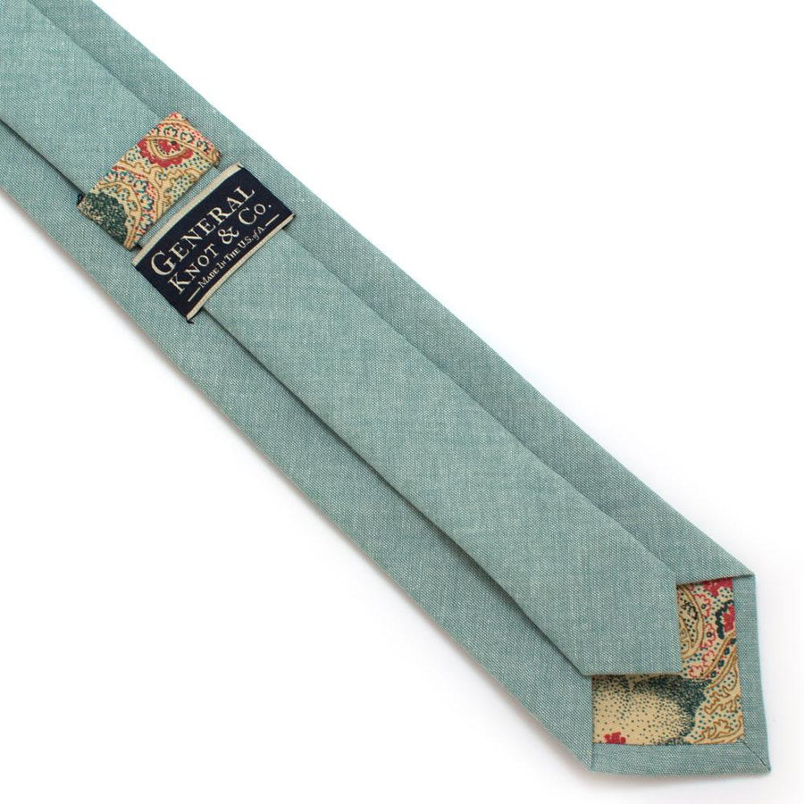 "Sage Chambray Necktie - General Knot & Co. ,  Classic Necktie 2 7/8"" x 58"" - Neckwear and travel bags"